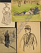 Gaston Prunier (French, 1863-1927), Lot of Fourteen Images: Figure and Landscape Studies, Unsigned, two double-sided., Condition: Acid, Gaston Prunier, Click for value