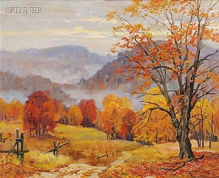 George Cherepov (American, 1909-1987) Lot of Two Views: Autumn Landscape and Spring in Greenwich, CT...