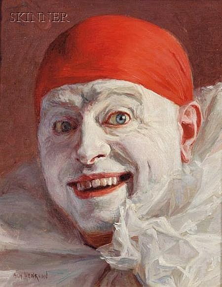 Armand Henrion (Belgian, b. 1875) Portrait of a Clown Signed