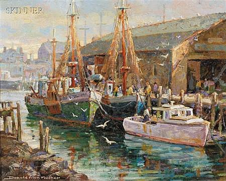Donald Allen Mosher (American, b. 1945) Fishing Vessels Signed