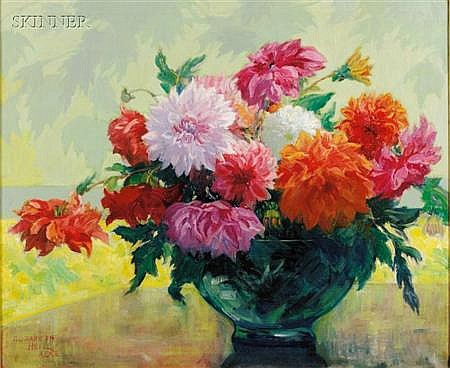 Elizabeth Heil Alke (American, 1877-1938) Still Life with Dahlias Signed