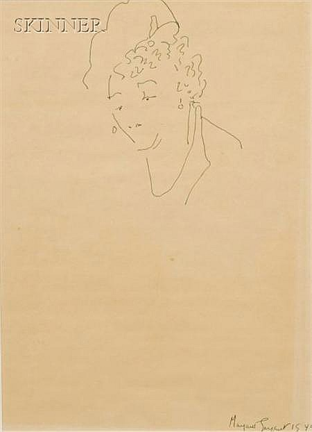 Margaret W. McKean Sargent (American, 1892-1978) Lot of Two Works: Portrait of a Woman, and Portrait of a...