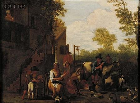 Paolo Monaldi (Italian, c. 1710-after 1779) In the Farmyard Unsigned. Oil on canvas...