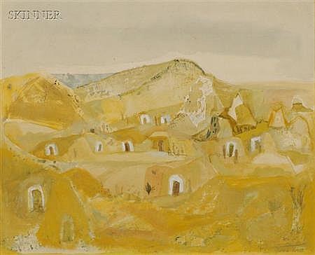Gina Brook Knee (American, 1898-1982) Pueblo Dwellings Signed