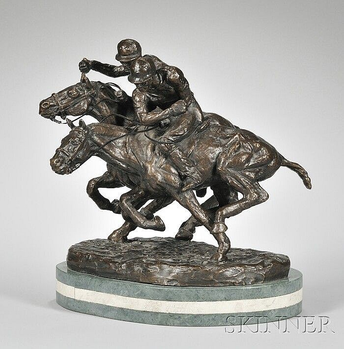 Thomas Holland (1917-2004) Bronze Sculpture of Polo Players, inscribed
