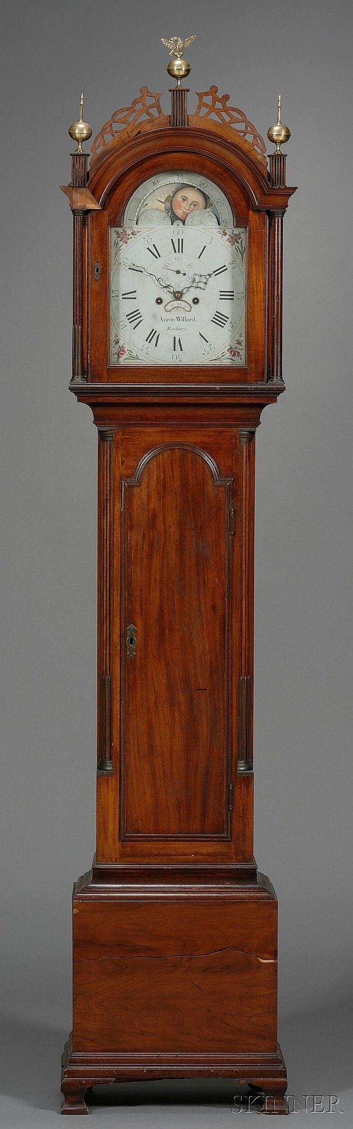 Federal Carved Mahogany Tall Case Clock, Aaron Willard, Roxbury, Massachusetts, c. 1790, the 12 in. painted iron dial with moon's ag..