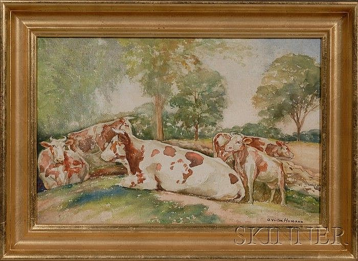 O. Victor Humann (Massachusetts, 1874-1951) Cows at Pasture. Signed l.r. Watercolor on paper, 13 3/4 x 21 in., in a molded giltwood ...
