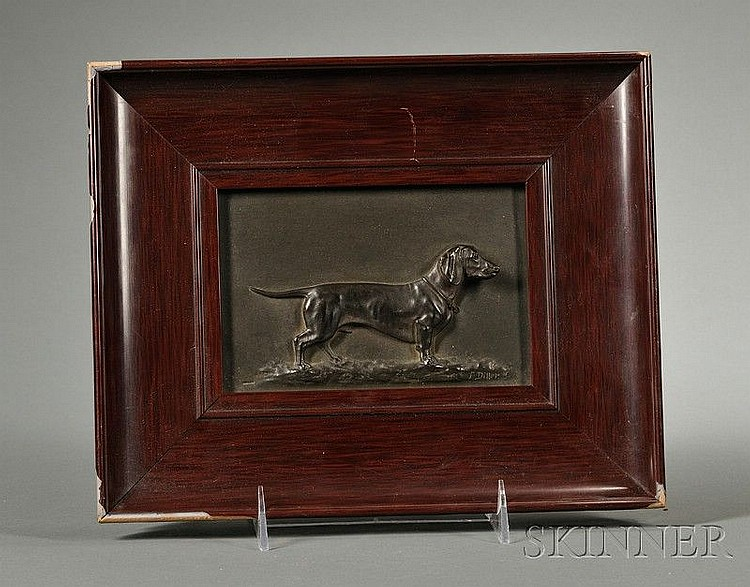 Fritz Diller (German, 1875-1945) Patinated Copper Relief Plaque of a Dachshund, rectangular, depicting a standing male hound, signed l.