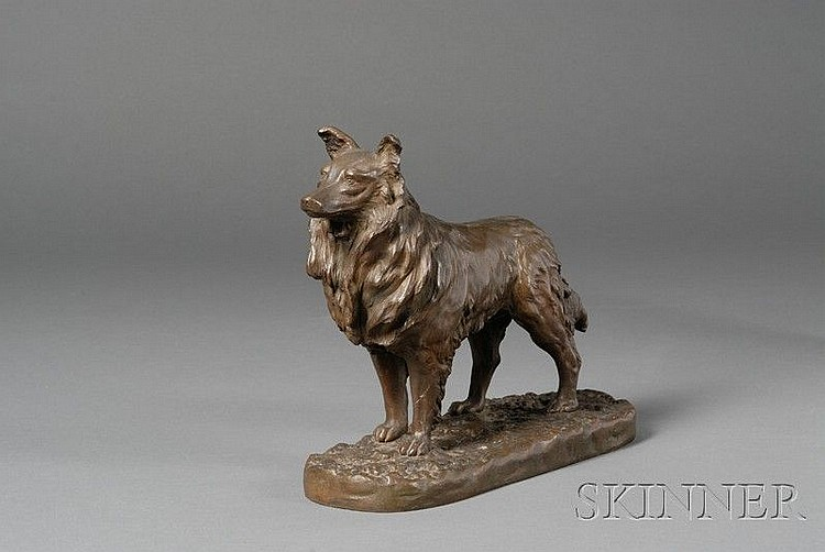 Paul Edouard Dreux (French, 1855-1947) Bronze Figure of a Dog, the standing hound with long mane and tail,...