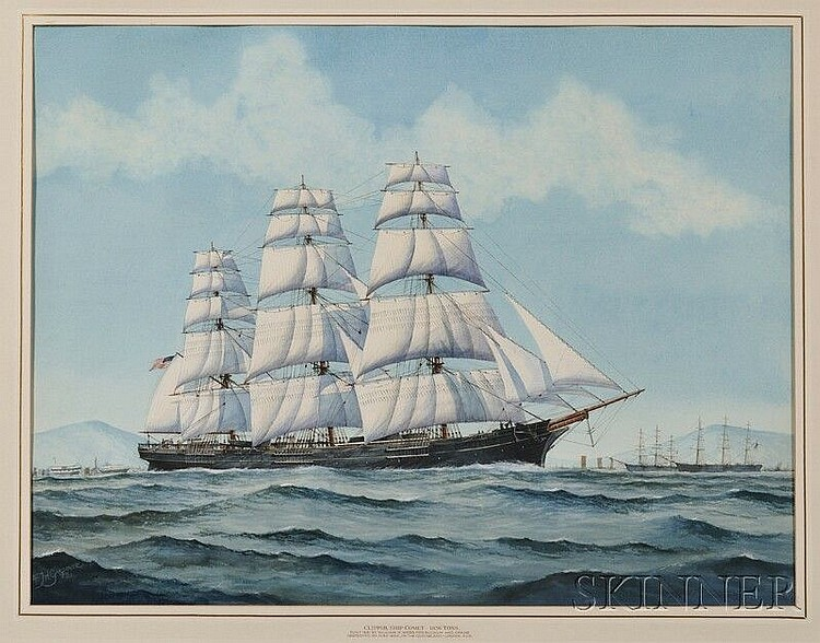 Frank Joseph Henry Gardiner (British, 1942 - ) Portrait of the American Clipper Ship Comet. Signed and dated