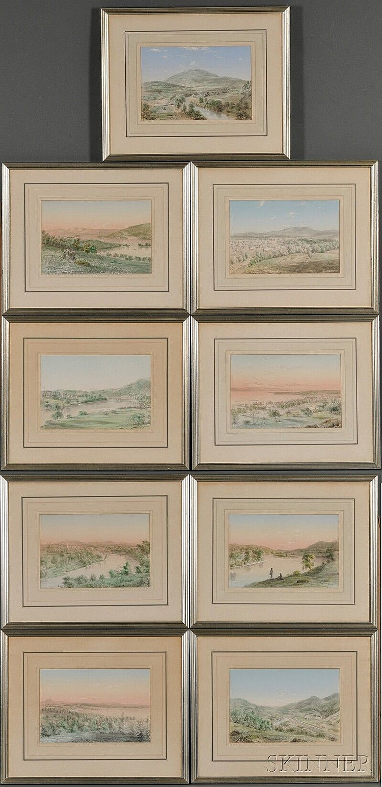Julius O. Montalant (Philadelphia, 1823-1878) Lot of Nine Framed Vermont Scenes. Each signed and dated, the scenes identified below ...