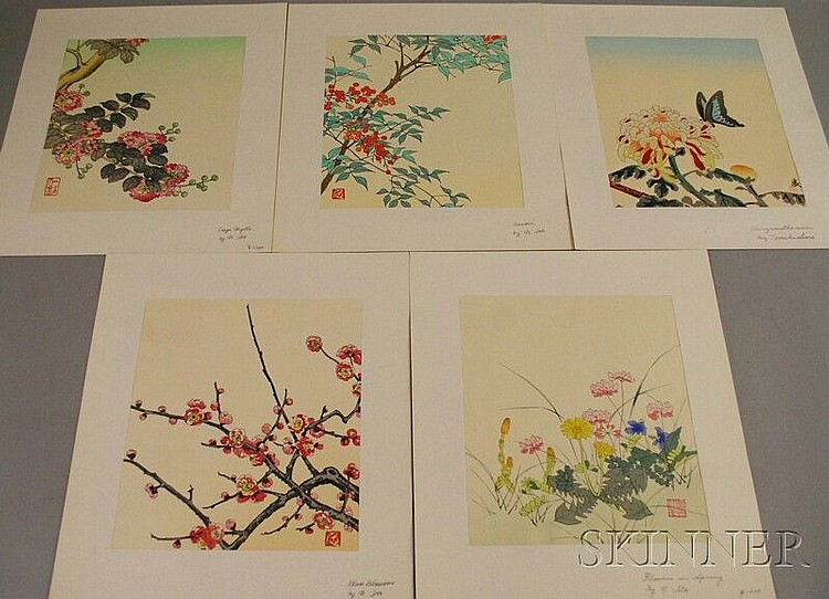Five Unframed Japanese Botanical Woodcuts: Attributed to Nisaburo Ito (Japanese, 1910-1988): Crepe Myrtle, Nandin, Plum Blossoms, and F