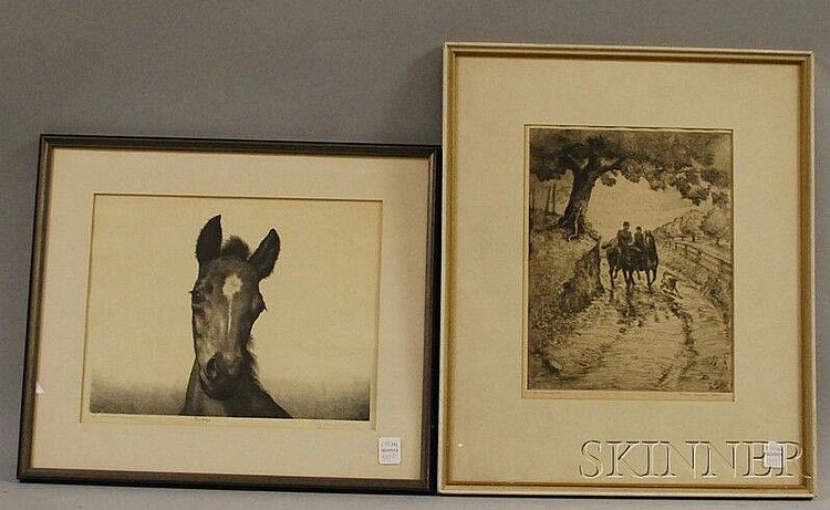 Two Framed Equestrian-themed Prints: Polly Knipp Hill (American, 1900-1990), Morning Ride, signed in pencil l.r., titled and numbered