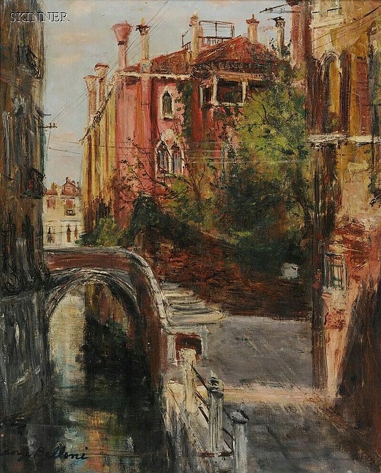 Serge Belloni (Italian, b. 1925), Venetian Canal Scene, Signed