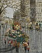 Serge Belloni (Italian, b. 1925), Parisian Flower Vendors, Signed and dated