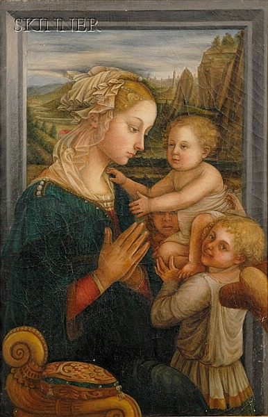 After Fra Filippo Lippi (Italian, 1406-1469) Madonna and Child with Angels Unsigned. Un...