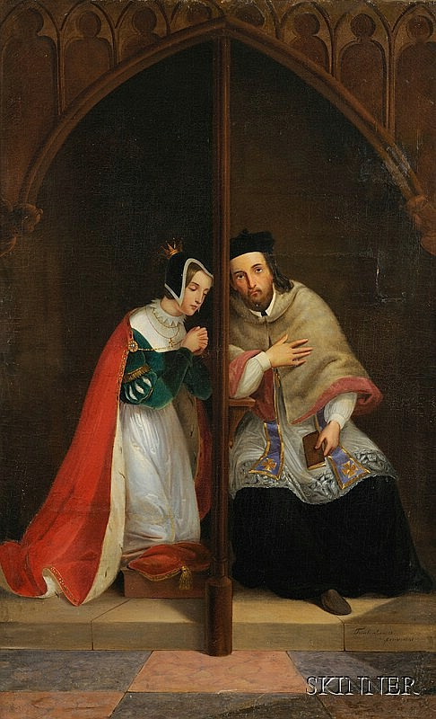 Johann Frankenberger (Austrian, 1807-1874) The Maiden's Confession. Signed and dated