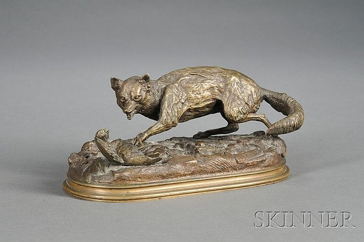 Lambert Alex Leonard (French, 1821-1877) Bronze Fox and Bird Group, unpatinated, modeled on a naturalistic oval base, artist stamp, lg.