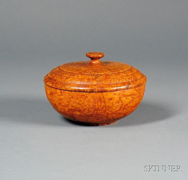 Turned Covered Ash Burlwood Bowl, Northeastern United States, c. 1780, ht. 5, dia. 7 1/2 in.  Literat...