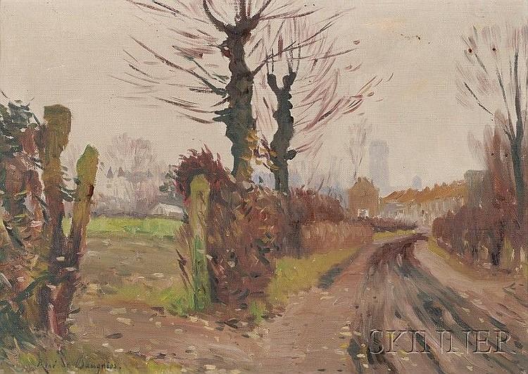 René de Baugnies (Belgian, 1869-1962) Country Road Signed