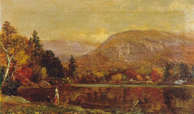 SAMUEL LANCASTER GERRY (AMERICAN, 1813-1891) A LAKE IN AUTUMN WITH FIGURES ON THE SHORE/OVER THE RIVER