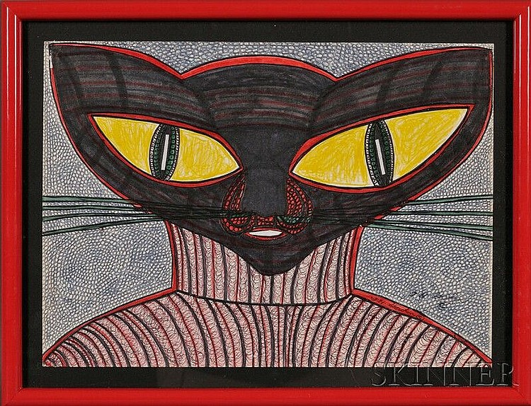 Harold Theodore (Ted) Gordon (American, b. 1924), Turtleneck Cat, 1968, Signed
