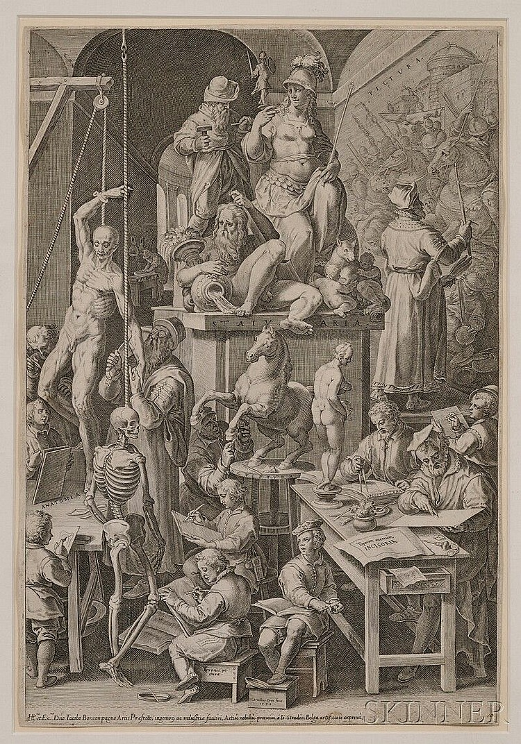 Cornelis Cort (Dutch, 1533-1578) The Drawing Academy, 1578, published by Carlo Losi, 1773. Identified within the plate. Engraving on pa