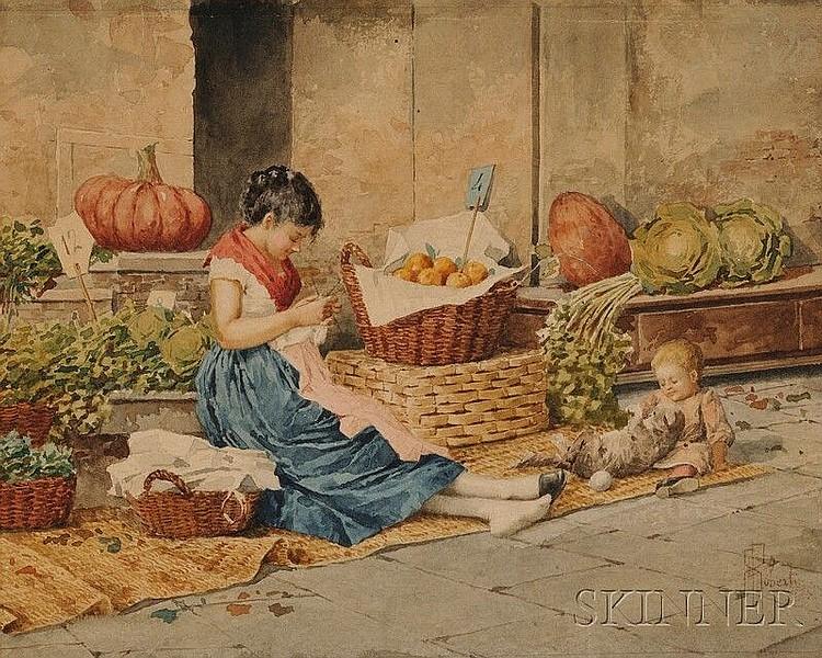 Albert Pierre Roberti (Belgian, 1811-1964) The Vegetable Seller Monogram signed