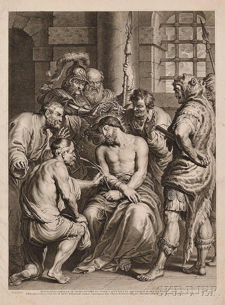 Schelte Adams Bolswert (Dutch, 1581-1659), The Scourging of Christ, After Sir Anthony van Dyck (Flemish, 1599-1641) Inscribed in the...