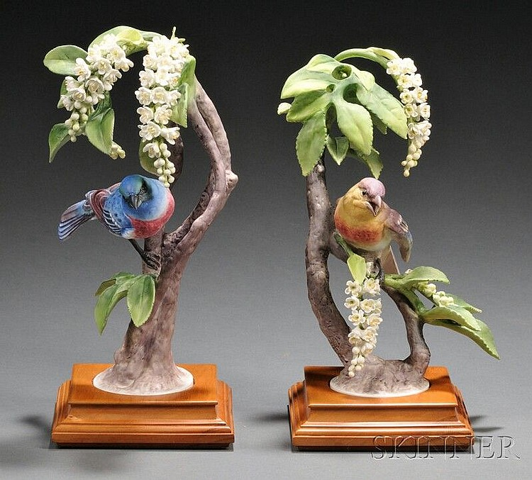 Pair of Dorothy Doughty for Royal Worcester Bone China Lazuli Bunting with Choke Cherry, © 1962, ht. 10 and 10 3/4 in.