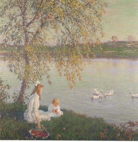 EDWARD DUFNER (AMERICAN, 1872-1957) AFTERNOON BY THE LAKESHORE