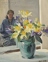 """Louis Betts (American, 1873-1961) Still Life with Daffodils and Figure Signed """"Louis Betts"""" l.r. Oil on canvas, 20 x 16 in. (50.8 x ..."""