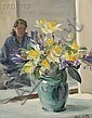 Louis Betts (American, 1873-1961) Still Life with Daffodils and Figure Signed