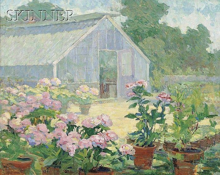 Ida Wells Stroud (American, 1869-1944) Hydrangeas at the Florist's Place Signed