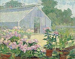 """Ida Wells Stroud (American, 1869-1944) Hydrangeas at the Florist's Place Signed """"IDA...STROUD"""" l.l., titled and inscribed """"...Vineya.."""