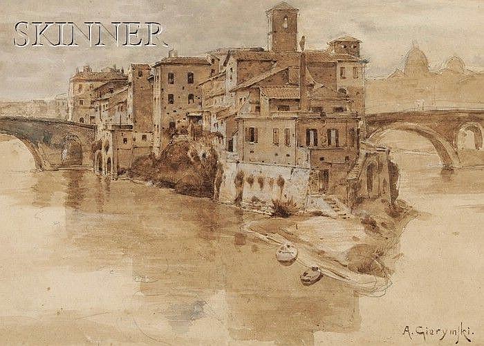 Aleksander Gierymski (Polish, 1850-1901) The Island Village/An Italian View Signed