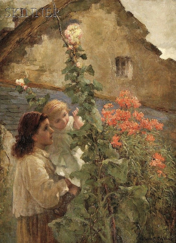 Constance Gertrude Copeman (British, 1864-1953) Young Woman Holding a Child Beside Hollyhocks Signed and dated