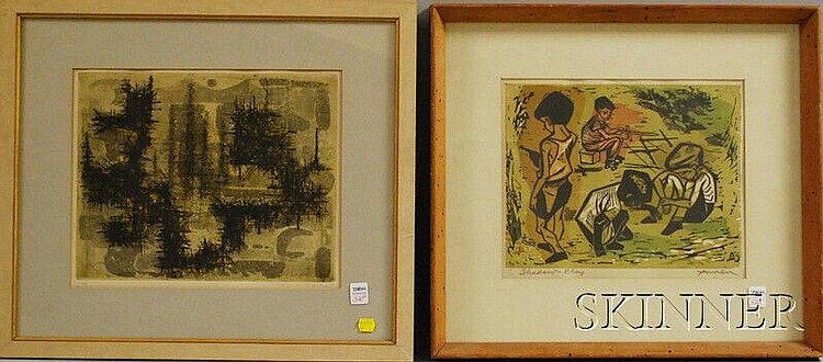 Two Prints: Yannick Ballif (British, b. 1927), Untitled, signed and dated