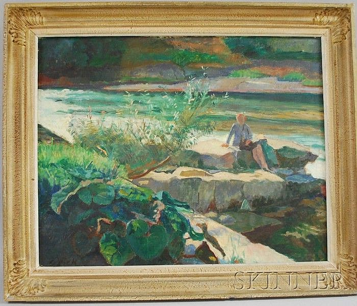 Karl Dick (Swiss, 1884-1967) Figure Seated on Rocks at the Shore. Signed