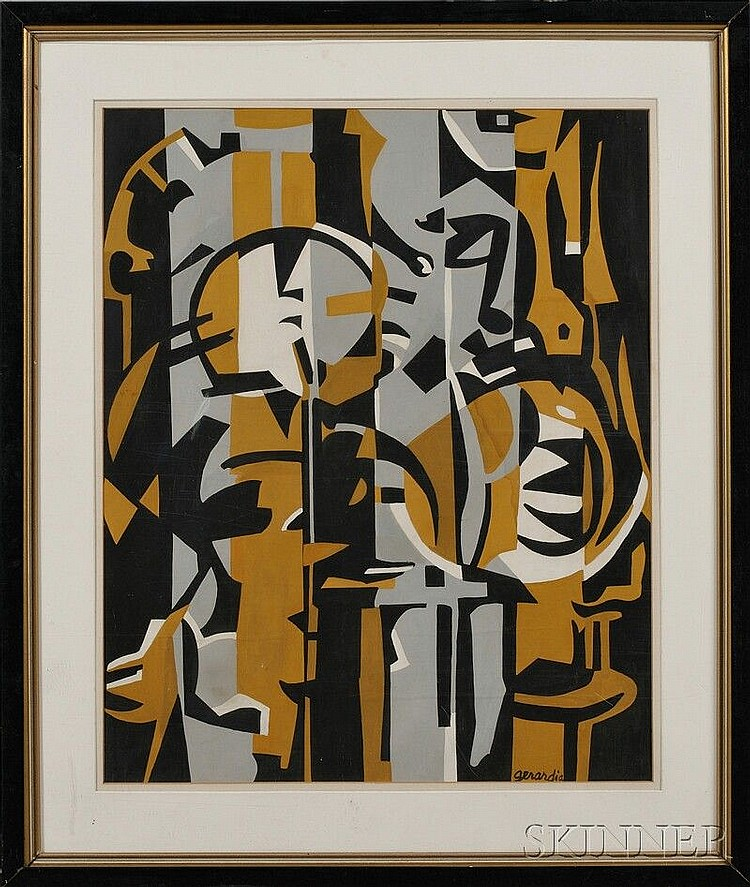 Helen Gerardia (American, 1903-1988) Untitled [Abstract in Mustard Yellow and Grey]. Signed