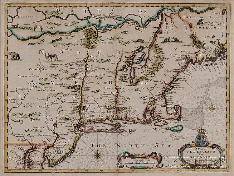 (Maps and Charts, North America), Speed, John 1552-1629), A Map of New England and New York, London, Thomas Bassett and Richard Chis...