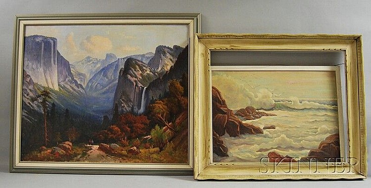 Two Framed Oil on Canvas Landscape Paintings: Abraham Rosenthal (American, 1886-1963), Seascape, signed l.r., sight size 21 1/2 x 25 1/