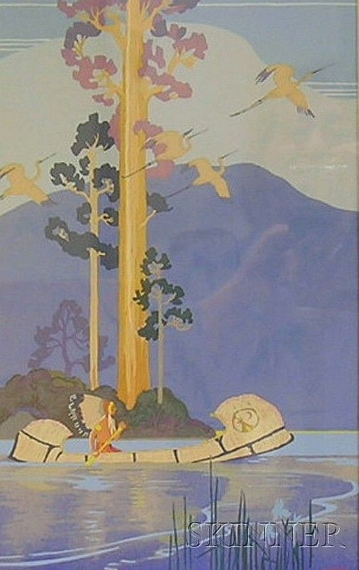 Lee Mero (American, b. 1885) Indian in a Birch Canoe. Signed