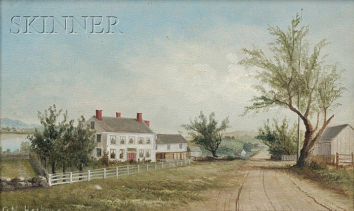 George M. Hathaway (American, 1852-1903) Portrait of a Farm House Signed