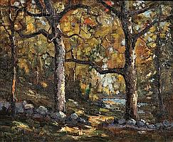 """George Victor Grinnell (American, 1878-1946) Autumn Tapestry Signed """"GRINNELL"""" l.l., titled in the artist's hand on the stretcher, s.."""