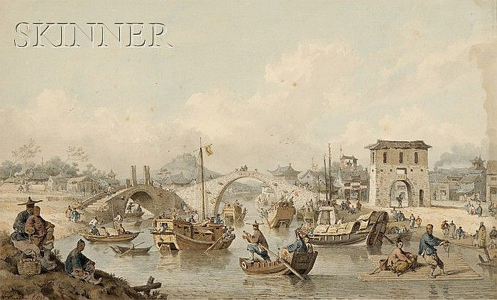 William Alexander (British, 1767-1816) Chinese Barges of the Embassy Preparing to Pass Under a Bridge plate XL from Sir George Staun...