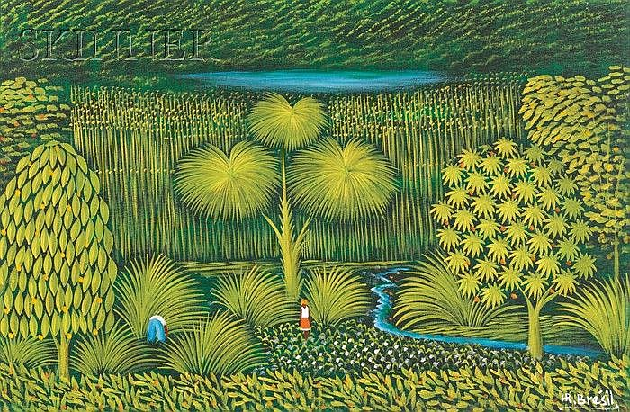 Henri Robert Bresil (Haitian, 1952-1999), Landscape with Lake, Monogram signature