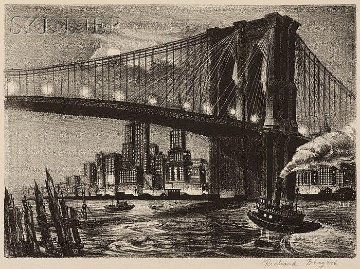 Richard Bergere (American, b. 1912) Twilight Over Brooklyn Bridge, edition of 250, published by Associated American Artists. Signed ...