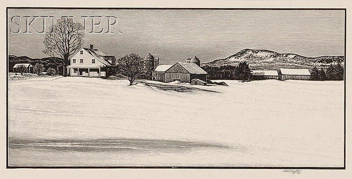 Asa Cheffetz (American, 1897-1965) Lot of Three Landscape Views: Winter in Southampton; Bucolic Farm; and Deserted Farm. Each signed...