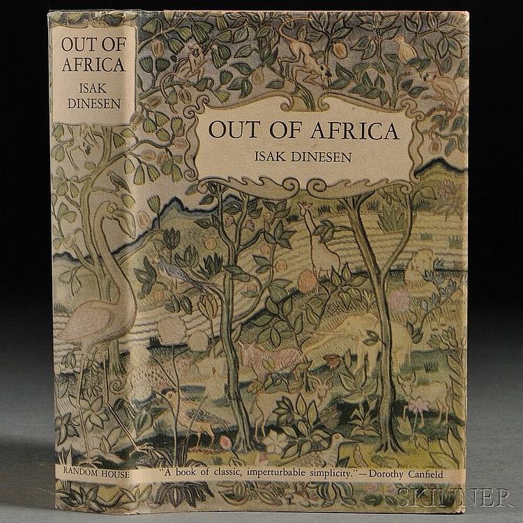 Dinesen, Isak [aka Karen Blixen] (1885-1962) Out of Africa. New York: Random House, [1938]. First edition, orange publisher's cloth wi